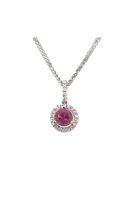 18k White Gold Pink Sapphire Pendant With Diamond Halo C8534 product image