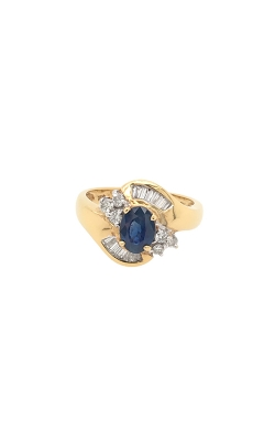 18k Yellow Gold Sapphire Ring With Halo Diamonds C8569 product image