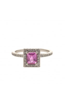 18k White Gold Pink Sapphire Ring With Diamond Halo C8570 product image