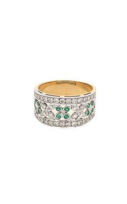 18k White And Yellow Gold Emeralds And Diamonds Band G12092 product image
