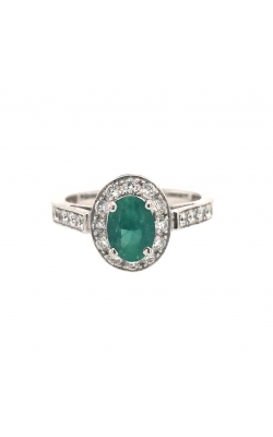 14k White Gold Emerald Ring With Halo And Side Diamonds C8576 product image