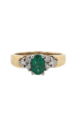 14k Yellow Gold Emerald Ring With Side Diamonds G12094 product image