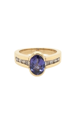 14k Yellow Gold Tanzanite Ring With Side Diamonds C8582 product image