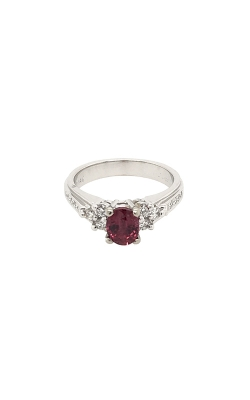 14k White Gold Ruby Ring With Side Diamonds C8629 product image