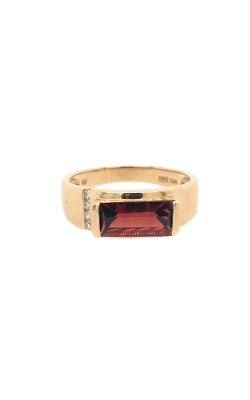 14k Yellow Gold Garnet Ring With Side Diamonds C8717 product image