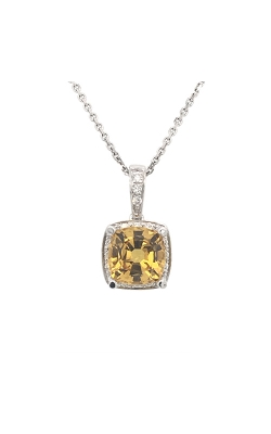 18k White Gold Yellow Sapphire Pendant With Diamond Accents C8902 product image