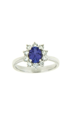 18k White Gold Tanzanite Ring With Halo Diamonds G11375 product image
