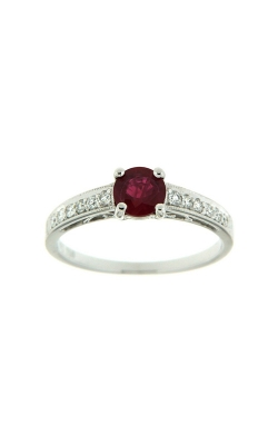 18k White Gold Ruby Ring With Side Diamonds G7715 product image
