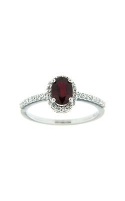 18k White Gold Ruby Ring With Halo And Side Diamonds G7713 product image