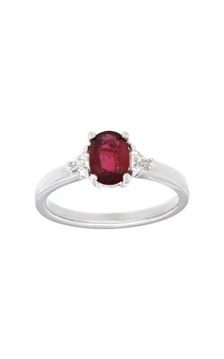 18k White Gold Three-Stone Ruby And Diamonds Ring G0741 product image
