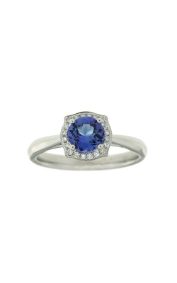 14k White Gold Tanzanite Ring With Halo And Side Diamonds PQ254-TZ-14K-WG product image