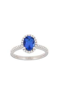 14k White Gold Tanzanite Ring With Halo And Side Diamonds PQ294-TZ-14K-WG product image
