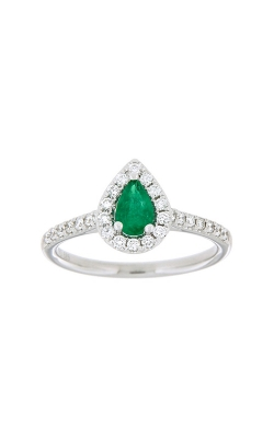 14k White Gold Emerald Ring With Halo And Side Diamonds G10288 product image