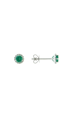 18k White Gold Emerald Stud Earrings With Diamond Halo product image