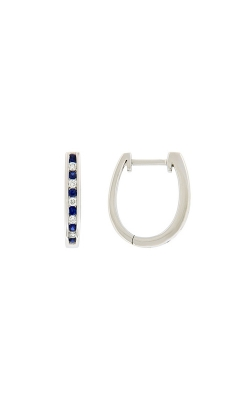 14k White Gold Sapphire And Diamond Hoop Earrings product image