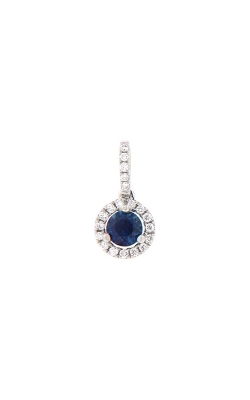 18k White Gold Sapphire Pendant With Diamond Halo G10287 product image