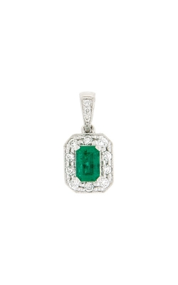 18k White Gold Emerald Pendant With Diamond Halo G10832 product image