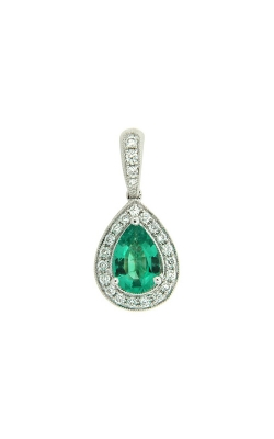18k White Gold Emerald Pendant With Diamond Halo G8754 product image