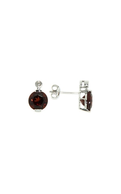 14k White Gold Garnet Stud Earrings G7727 product image