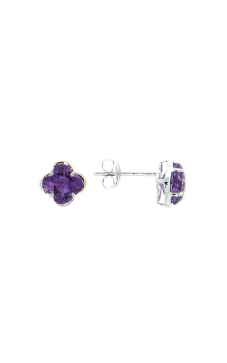 14k White Gold Amethyst Clover-Shaped Stud Earrings product image