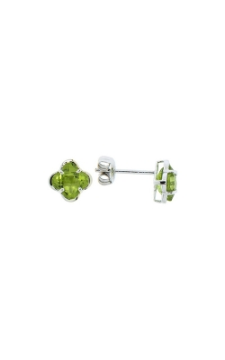 14k White Gold Peridot Clover-Shaped Stud Earrings product image