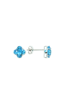 14k White Gold Blue Topaz Clover-Shaped Stud Earrings product image