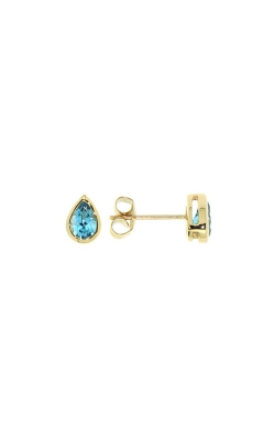 14k Yellow Gold Blue Topaz Stud Earrings product image