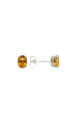 14k White Gold Citrine Stud Earrings product image