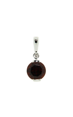 14k White Golf Garnet Pendant With Diamond Accent G8410 product image