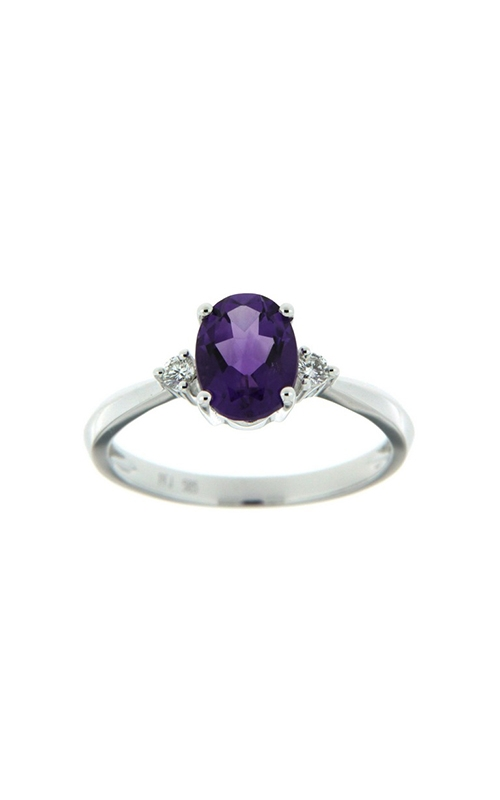14k White Gold Three-Stone Amethyst And Diamonds Ring SCR024-AMW product image