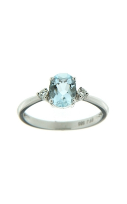 14k White Gold Three-Stone Aquamarine And Diamonds Ring SCR024-AQW product image