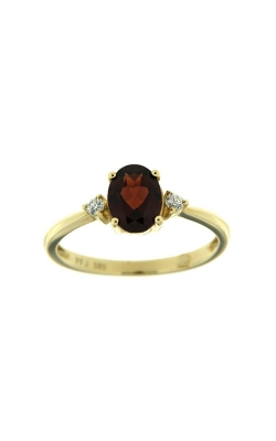 14k Yellow Gold Three-Stone Garnet And Diamonds Ring SCR024-GRY product image