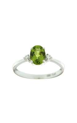 14k White Gold Three-Stone Peridot And Diamonds Ring SCR024-PEW product image