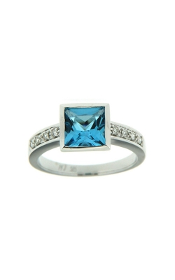 14k White Gold Blue Topaz Ring With Side Diamonds SCR025-TBW product image