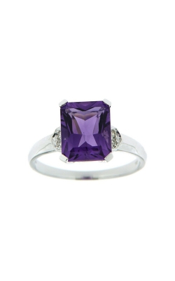 14k White Gold Amethyst Ring With Side Diamonds SCR031-AMW product image