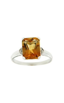 14k White Gold Citrine Ring With Side Diamonds SCR031-CTW product image