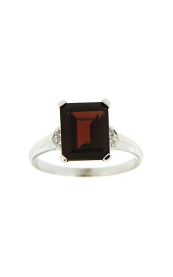 14k White Gold Garnet Ring With Diamond Accents SCR031-GRW product image