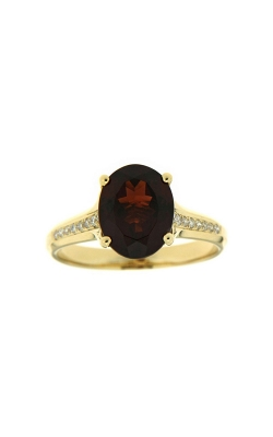 14k Yellow Gold Garnet Ring With Side Diamonds G10835 product image