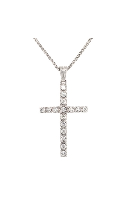 14k White Gold Cross Pendant With Diamonds G0600 product image