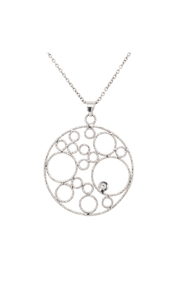 14k White Gold Circle Diamonds Necklace G0937 product image