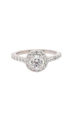 14k White Gold Diamond Engagement Ring With Halo And Side Diamonds G11211 product image