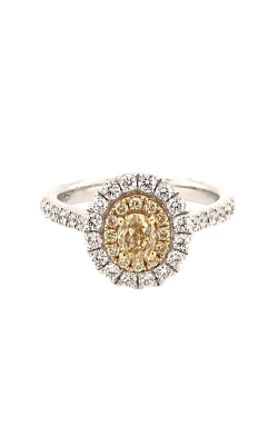 18k White and Yellow Gold Ring With Oval Fancy Yellow Diamond G11448 product image