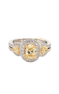 18k White and Yellow Gold Three-Stone Ring With Oval Fancy Yellow Diamond G11454 product image