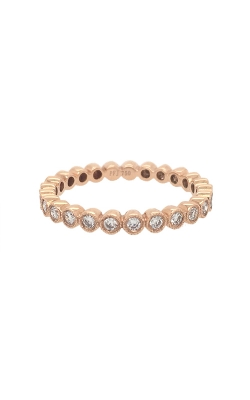 18k Rose Gold Bezel-Set Diamonds Band With Milgrain Pattern G7133 product image