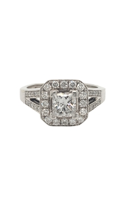 14k White Gold Diamond Engagement Ring With Halo And Side Diamonds G9010 product image