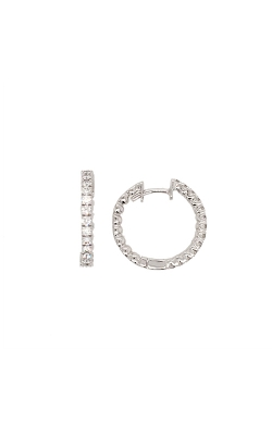 18k White Gold Diamond Hoop Earrings G9175 product image