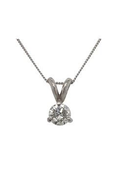 14k White Gold Solitaire Diamond Necklace G9994 product image