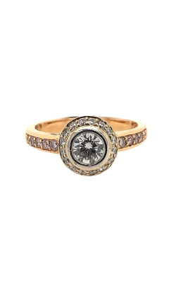 18k White And Rose Gold Diamond Engagement Ring With Pink Side Diamonds C2094 product image