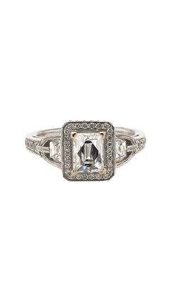 18k White Gold Emerald Cut Engagement Ring With Halo And Side Diamonds G11958 product image