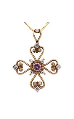 18k White And Yellow Gold Mahklouf Luxury Pendant With Pink Sapphire C2393 product image